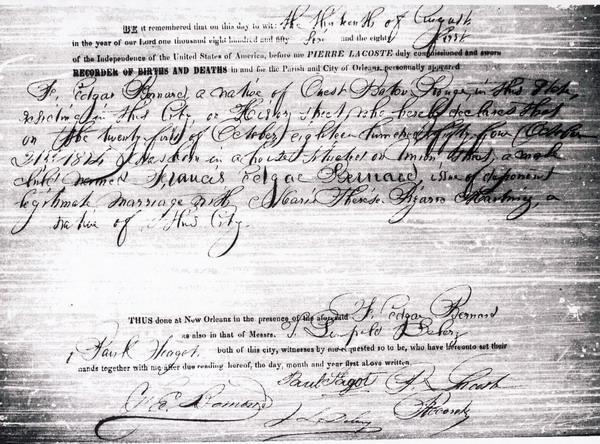 Birth Certificate for Francis Edgar Bernard: Stewart - de Jaham ...