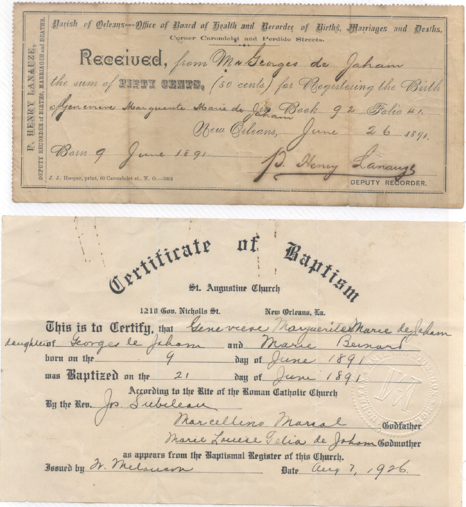 Baptismal Certificate And Birth Registration Receipt For Geneveive