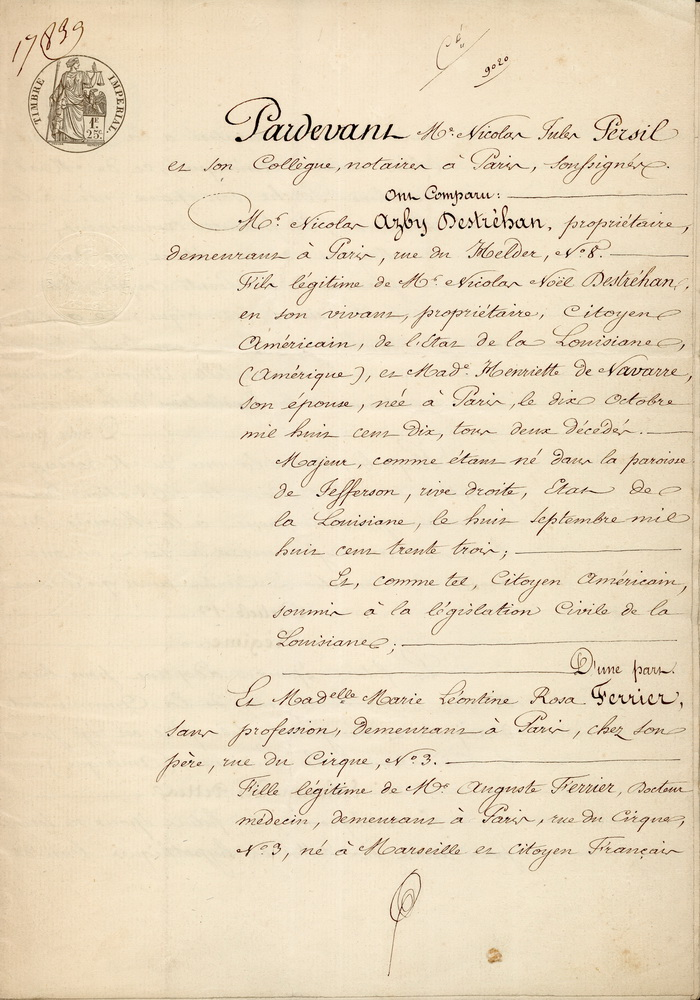 Marriage Contract French Page  Of  Stewart  De Jaham Family